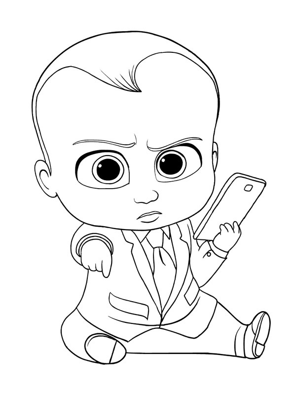 Boss baby with cellphone