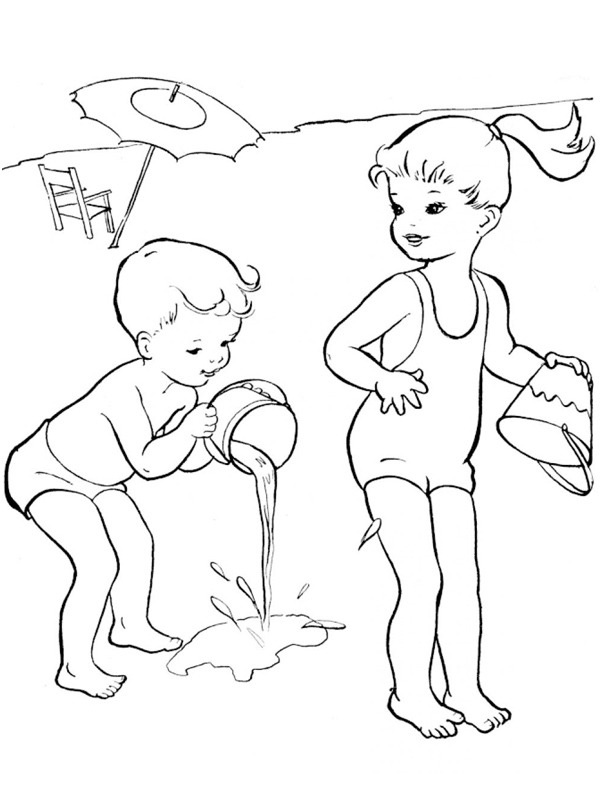 Kids play with water