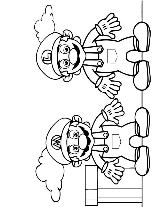 colouring page Mario and Luigi | coloringpage.ca