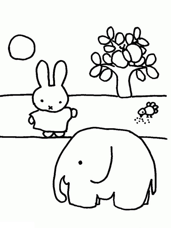 Miffy with an elephant